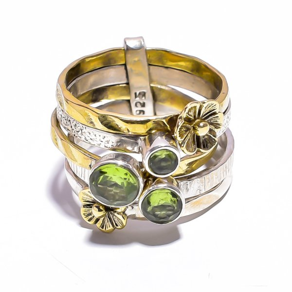 Peridot Gemstone 925 Sterling Silver Meditation Ring Size 6.25