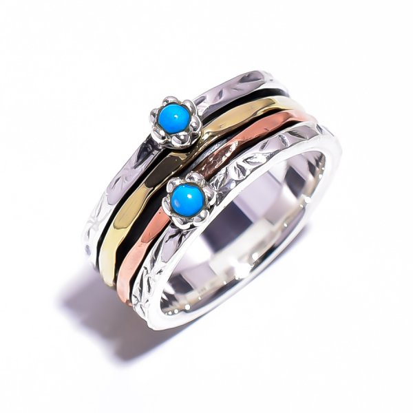 Sleeping Beauty Turquoise Gemstone 925 Sterling Silver Meditation Ring