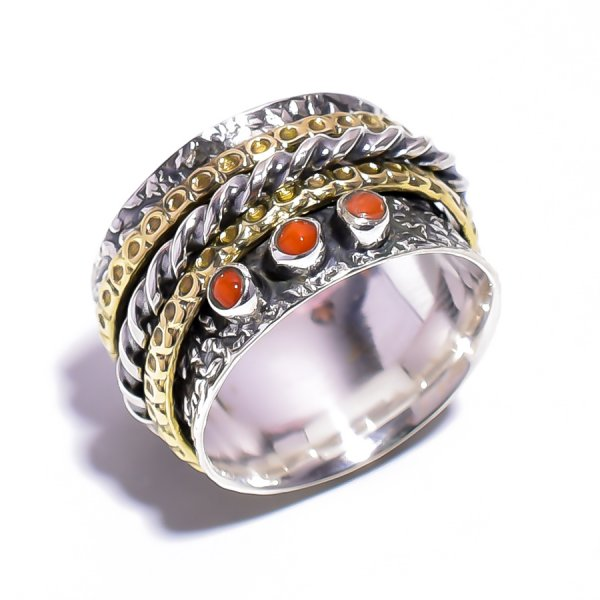 Carnelian Gemstone 925 Sterling Silver Meditation Ring