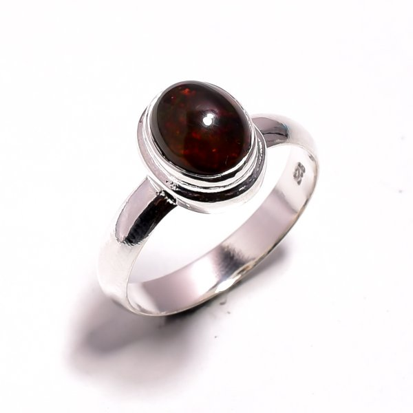 Ethiopian Black Opal 925 Sterling Silver Ring Size US 8