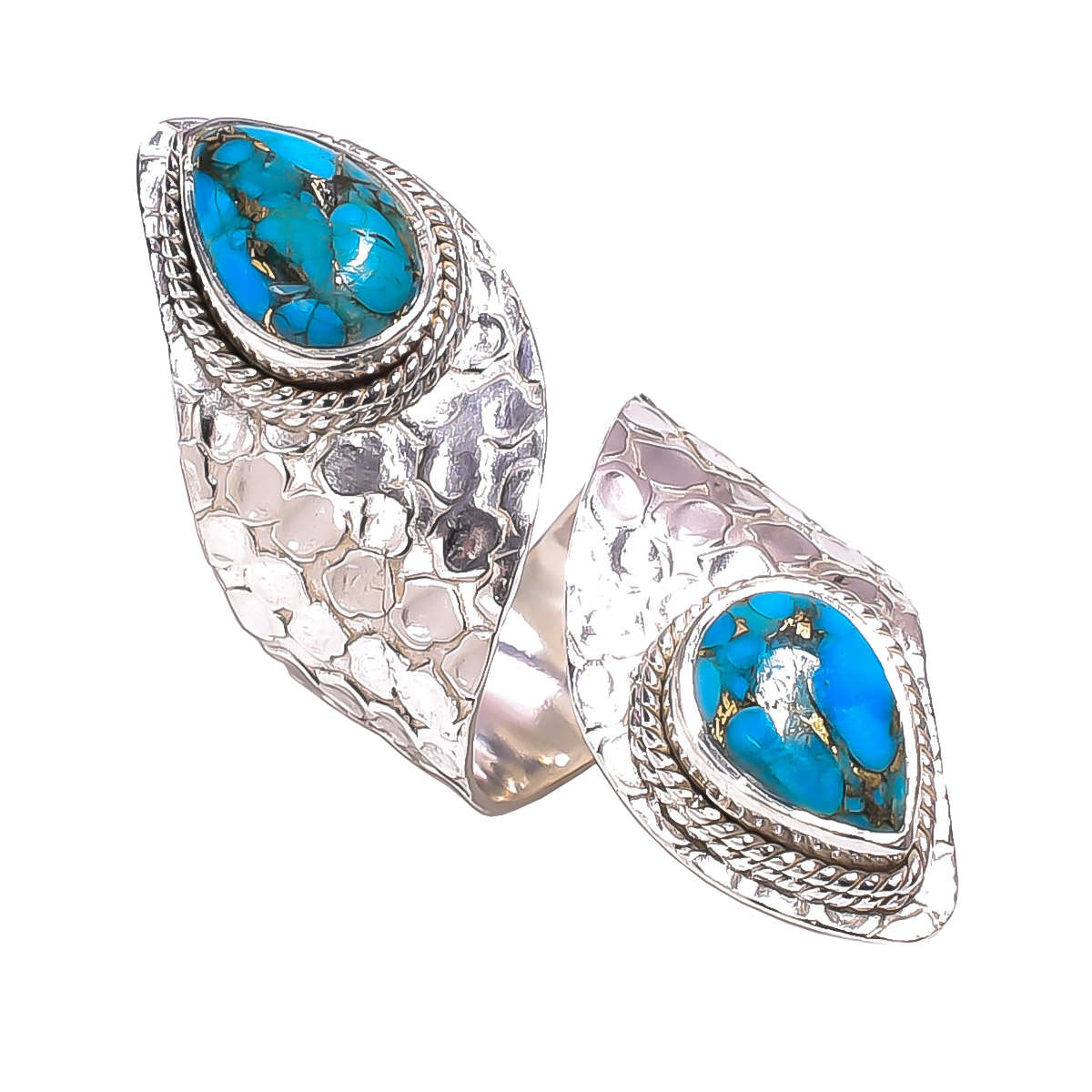 Blue Copper Turquoise 925 Sterling Silver Ring Size US 6