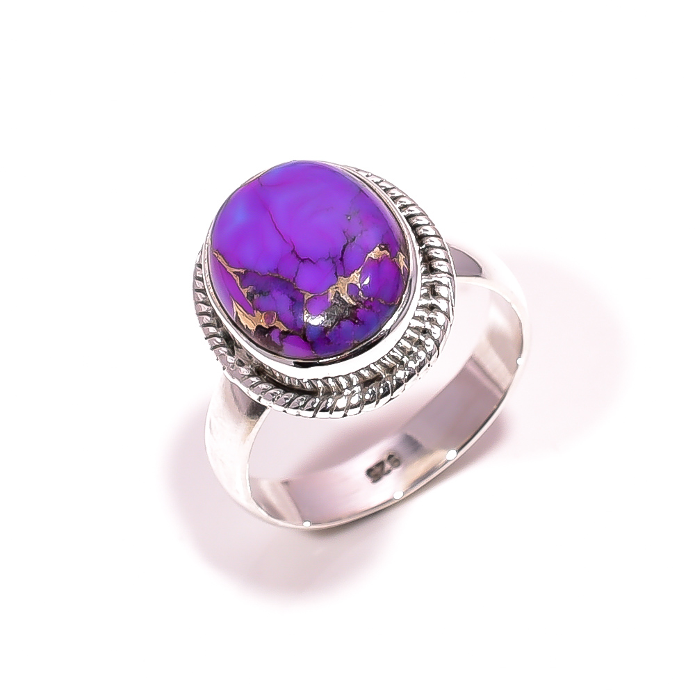 Purple Copper Turquoise Gemstone 925 Sterling Silver Ring Size 6.25