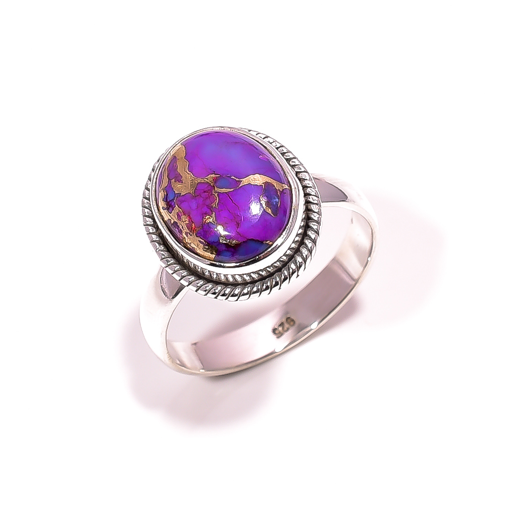 Purple Copper Turquoise Gemstone 925 Sterling Silver Ring Size 8.25