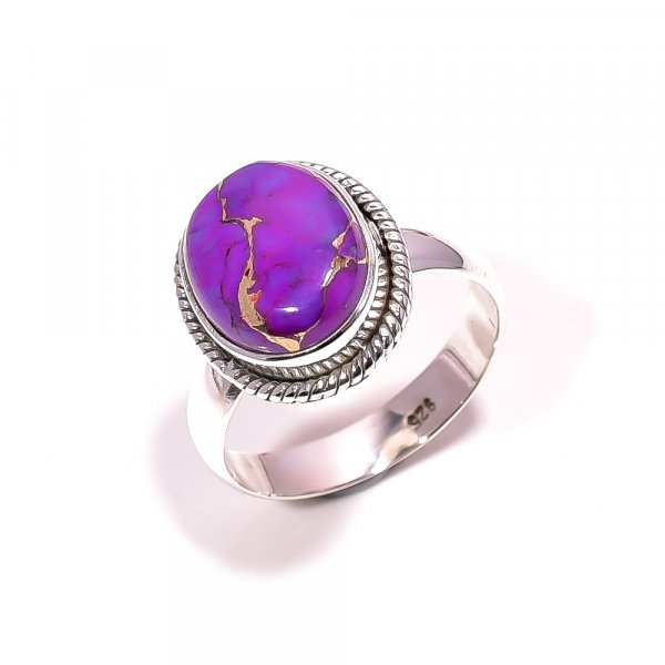 Purple Copper Turquoise Gemstone 925 Sterling Silver Ring Size 7.25