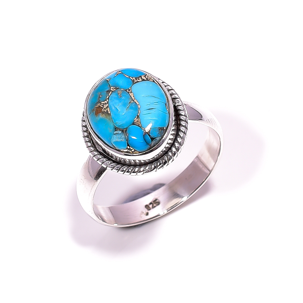 Blue Copper Turquoise Gemstone 925 Sterling Silver Ring Size 8