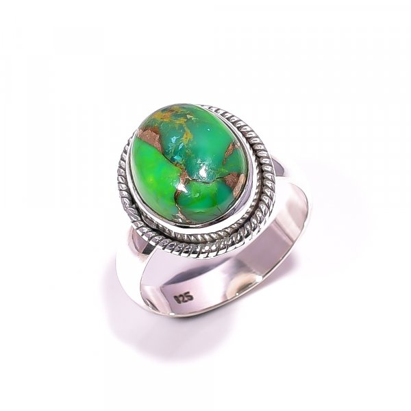 Green Copper Turquoise Gemstone 925 Sterling Silver Ring Size 6.25