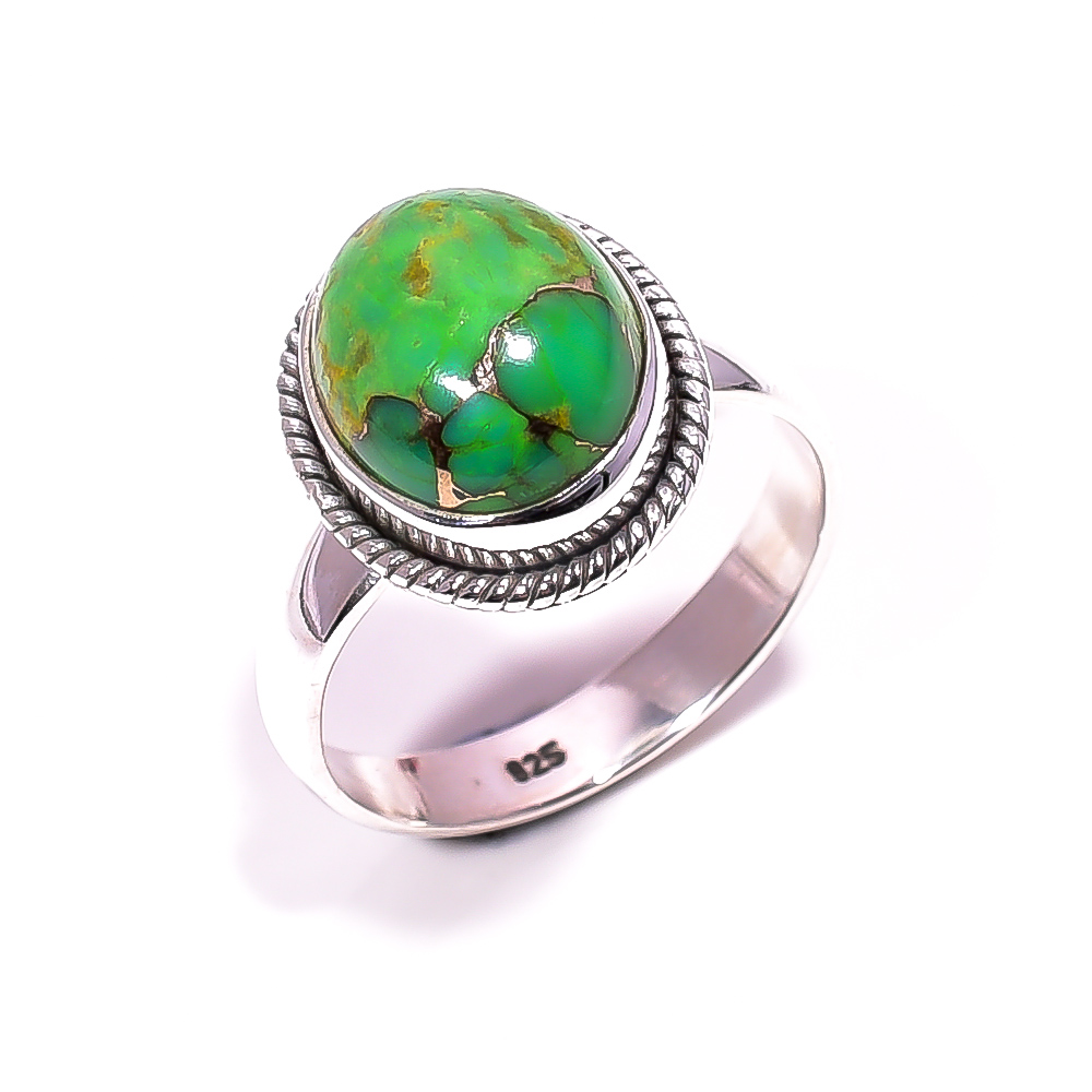 Green Copper Turquoise Gemstone 925 Sterling Silver Ring Size 8.25