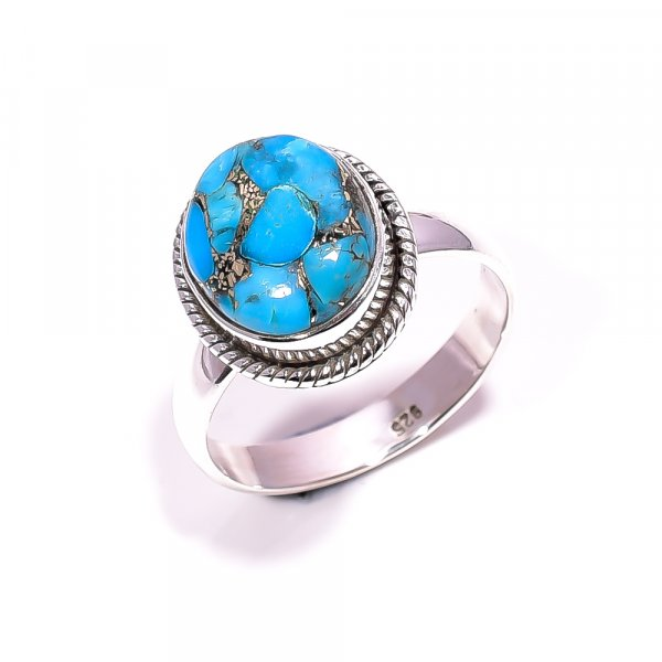 Blue Copper Turquoise Gemstone 925 Sterling Silver Ring Size 8.25