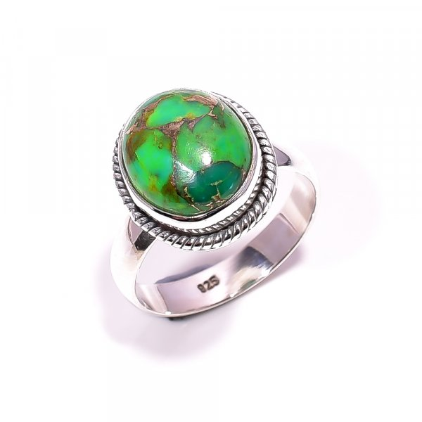 Green Copper Turquoise Gemstone 925 Sterling Silver Ring Size 7.25