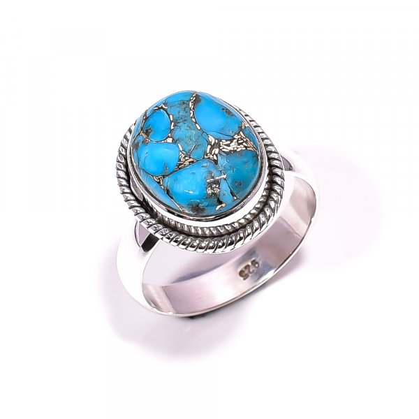 Blue Copper Turquoise Gemstone 925 Sterling Silver Ring Size 6