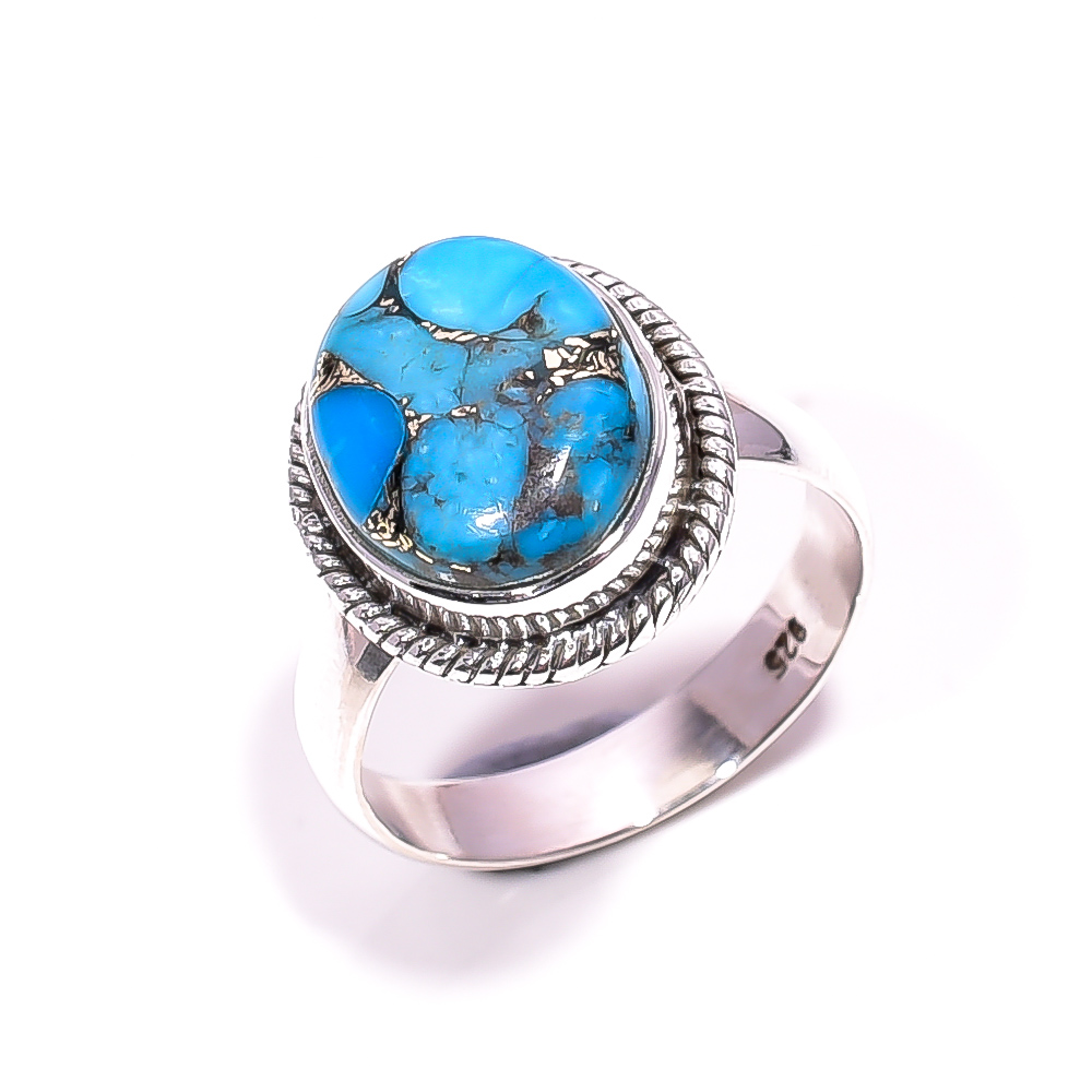 Blue Copper Turquoise Gemstone 925 Sterling Silver Ring Size 6.25