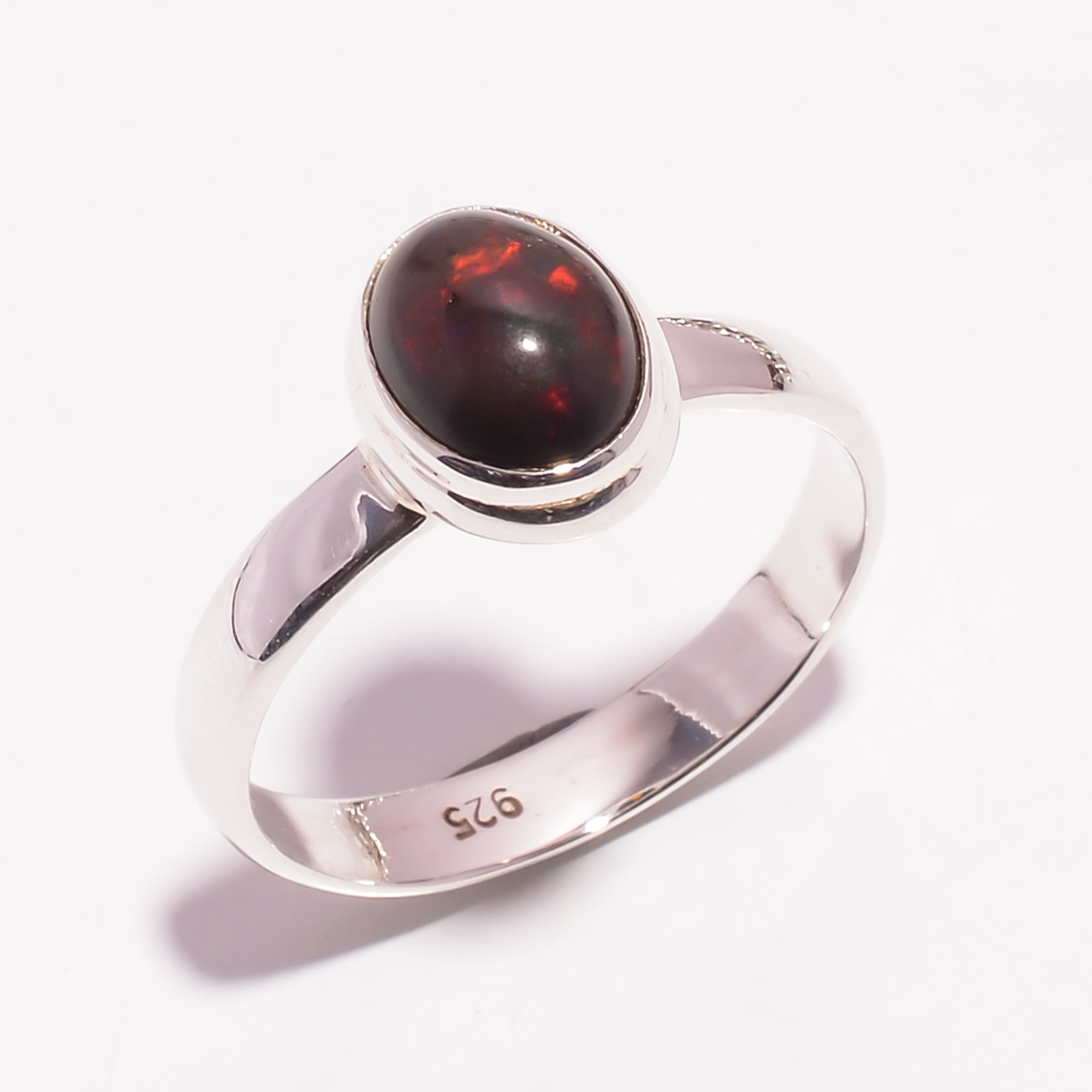 Fire Play Ethiopian Black Opal Gemstone 925 Sterling Silver Ring Size US 9.25
