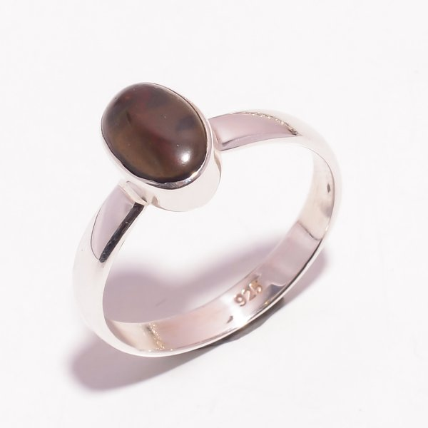 Ethiopian Black Opal Gemstone 925 Sterling Silver Ring Size US 10