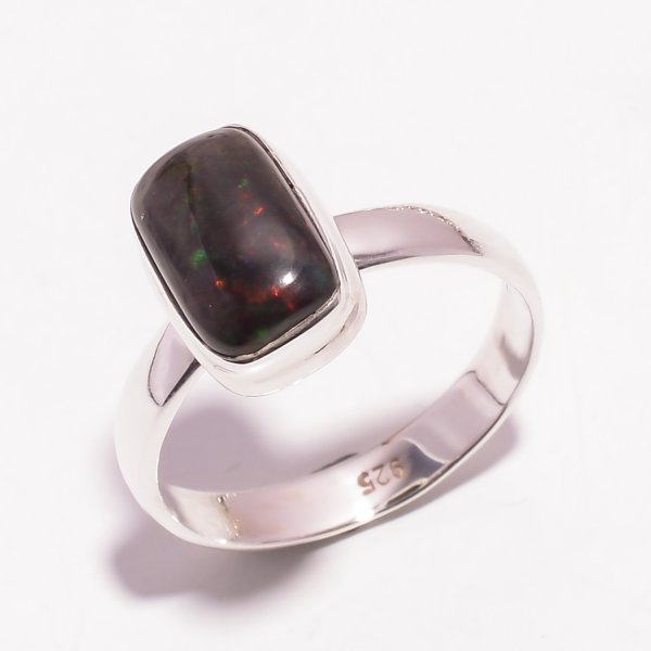Multi Fire Play Ethiopian Black Opal Gemstone 925 Sterling Silver Ring Size US 9.5