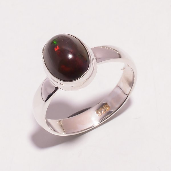 Multi Fire Play Ethiopian Black Opal Gemstone 925 Sterling Silver Ring Size US 6.25