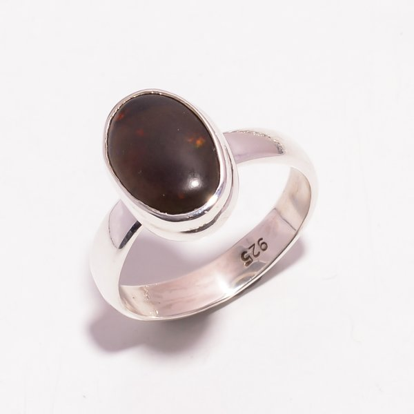 Fire Play Ethiopian Black Opal Gemstone 925 Sterling Silver Ring Size US 6