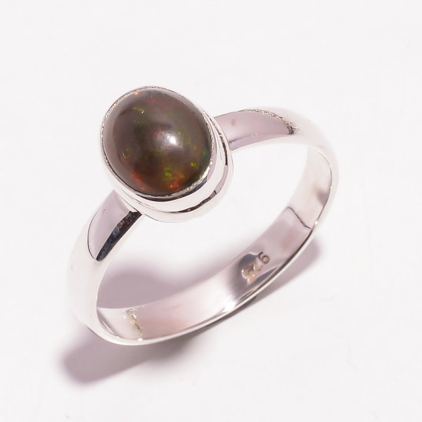 Multi Fire Play Ethiopian Opal Gemstone 925 Sterling Silver Ring Size US 10.25