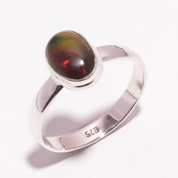 Multi Fire Play Ethiopian Black Opal Gemstone 925 Sterling Silver Ring Size US 10