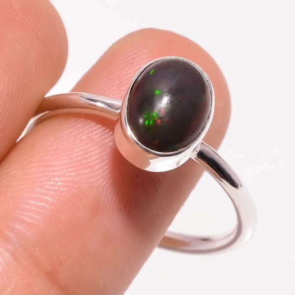 Multi Fire Play Ethiopian Black Opal Gemstone 925 Sterling Silver Ring Size US 9.25