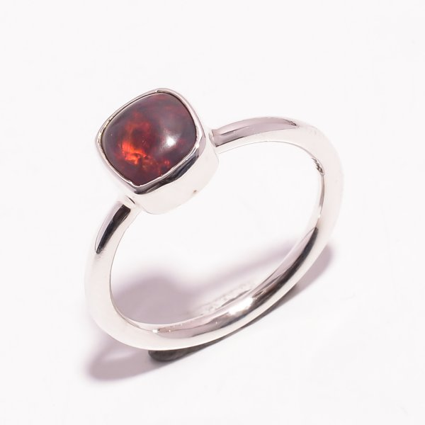 Fire Play Ethiopian Black Opal Gemstone 925 Sterling Silver Ring Size US 7.25