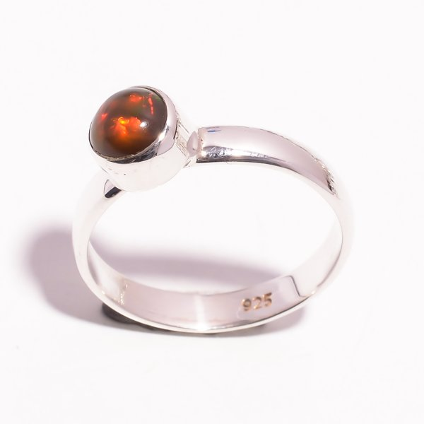 Fire Play Ethiopian Black Opal Gemstone 925 Sterling Silver Ring Size US 8.25