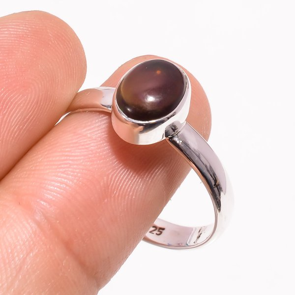 Ethiopian Black Opal Gemstone 925 Sterling Silver Ring Size US 10.25