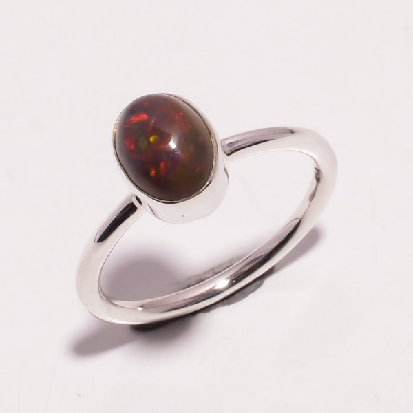 Multi Fire Play Ethiopian Black Opal Gemstone 925 Sterling Silver Ring Size US 8.5