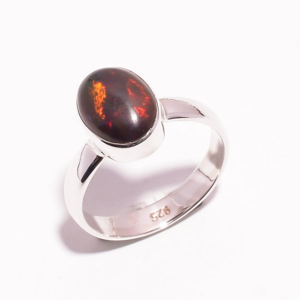 Fire Play Ethiopian Black Opal Gemstone 925 Sterling Silver Ring Size US 7