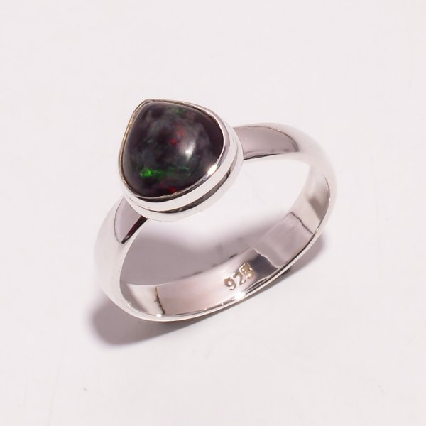 Multi Fire Play Ethiopian Black Opal Gemstone 925 Sterling Silver Ring Size US 8.25