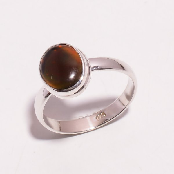 Fire Play Ethiopian Black Opal Gemstone 925 Sterling Silver Ring Size US 10