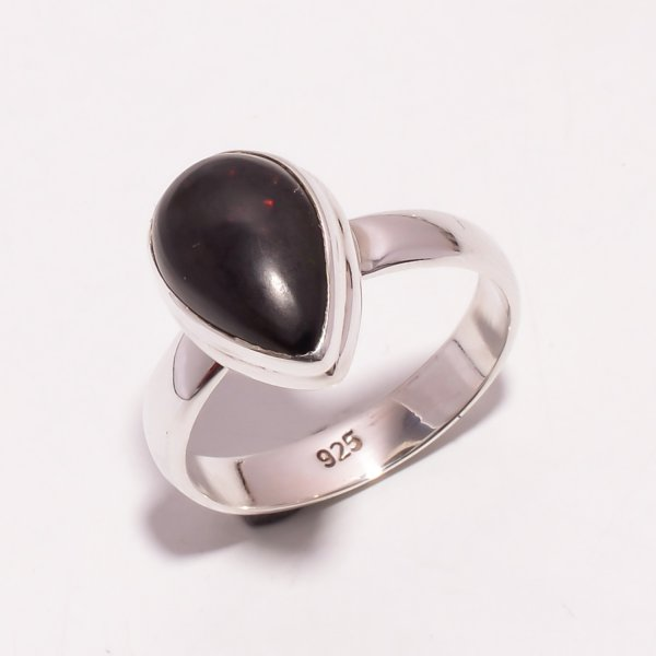 Ethiopian Black Opal Gemstone 925 Sterling Silver Ring Size US 7.25