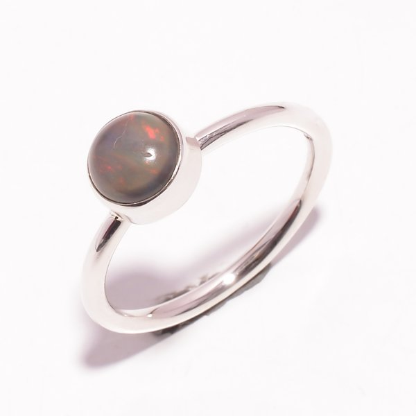 Fire Play Ethiopian Opal Gemstone 925 Sterling Silver Ring Size US 9.5