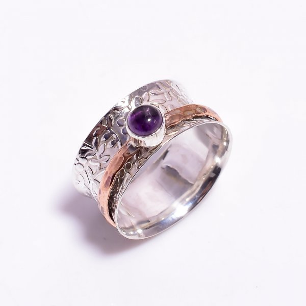 Amethyst Gemstone 925 Sterling Silver Meditation Spinner Ring Size US 11.25