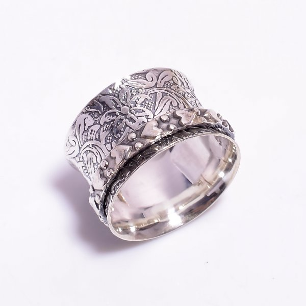 925 Sterling Silver Meditation Spinner Ring Size US 9.5