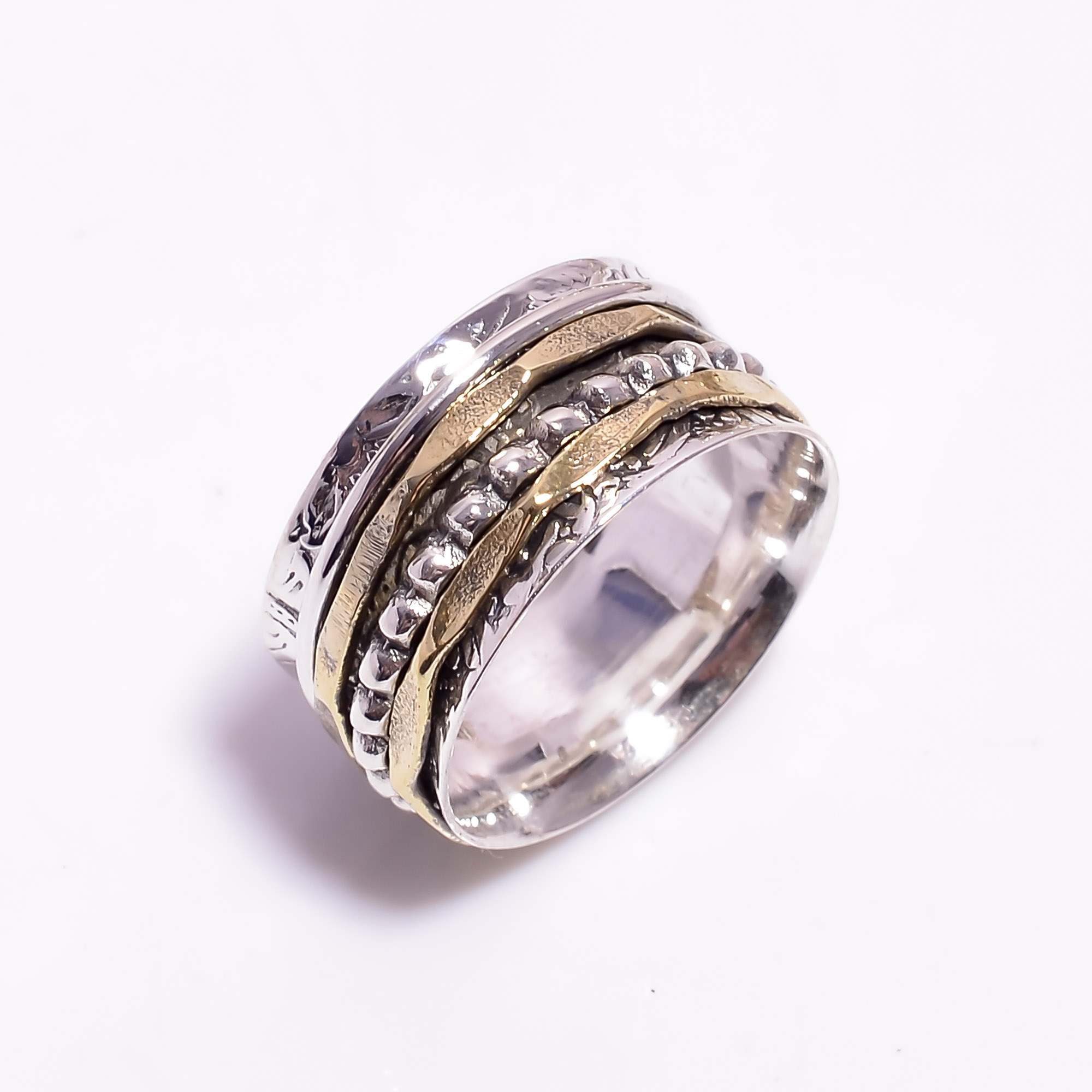 925 Sterling Silver Meditation Spinner Ring Size US 9