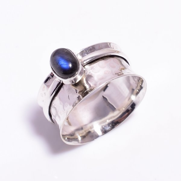Labradorite Gemstone 925 Sterling Silver Meditation Spinner Ring Size US 12.25