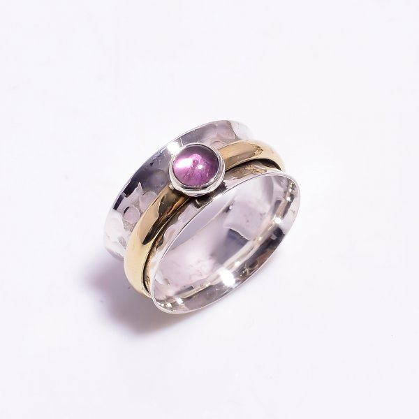 Amethyst Gemstone 925 Sterling Silver Meditation Spinner Ring