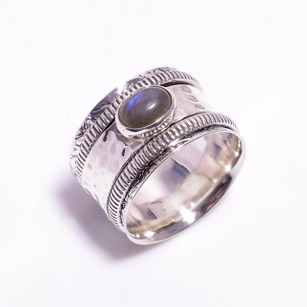 Labradorite Gemstone 925 Sterling Silver Meditation Spinner Ring Size US 8.25