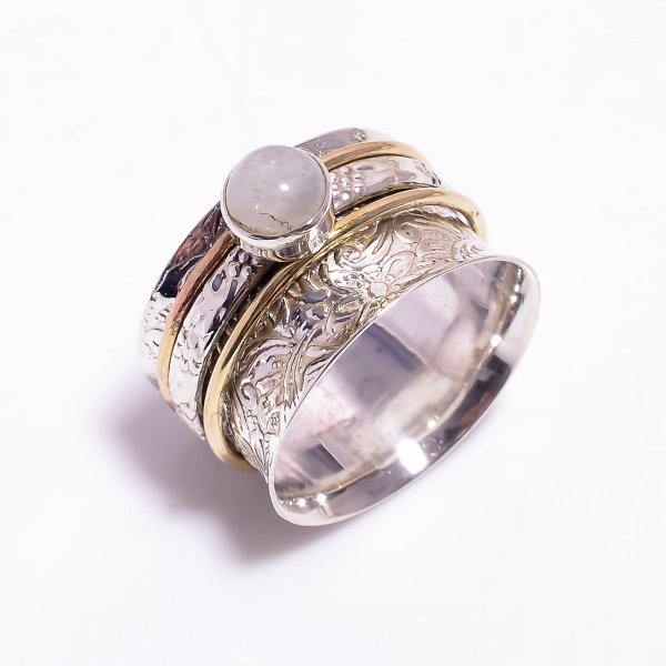 Natural Rainbow Moonstone 925 Sterling Silver Meditation Spinner Ring Size US 10