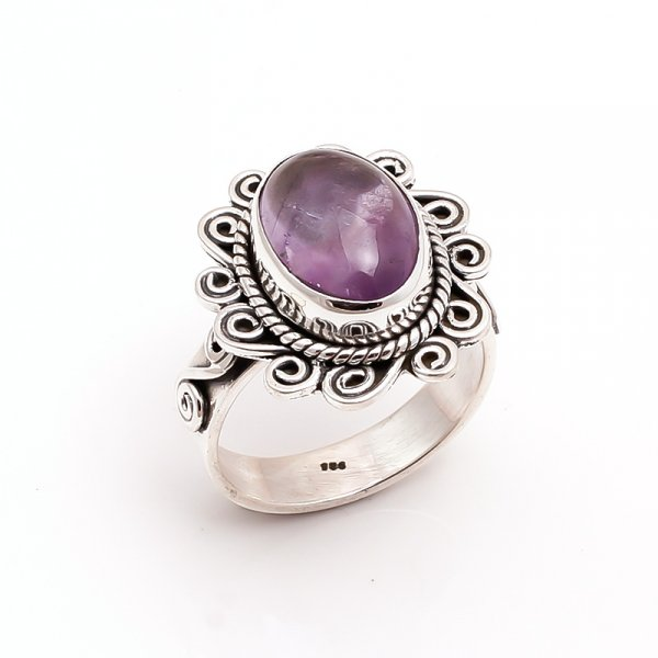 Amethyst Gemstone 925 Sterling Silver Ring Size 8.5