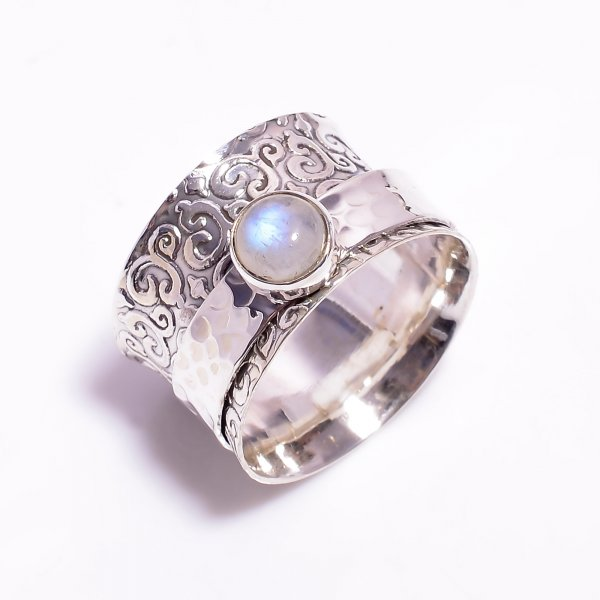 Natural Rainbow Moonstone 925 Sterling Silver Meditation Spinner Ring Size US 9.5
