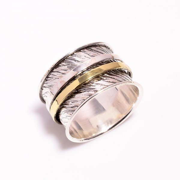 925 Sterling Silver Meditation Spinner Ring Size US 10.5