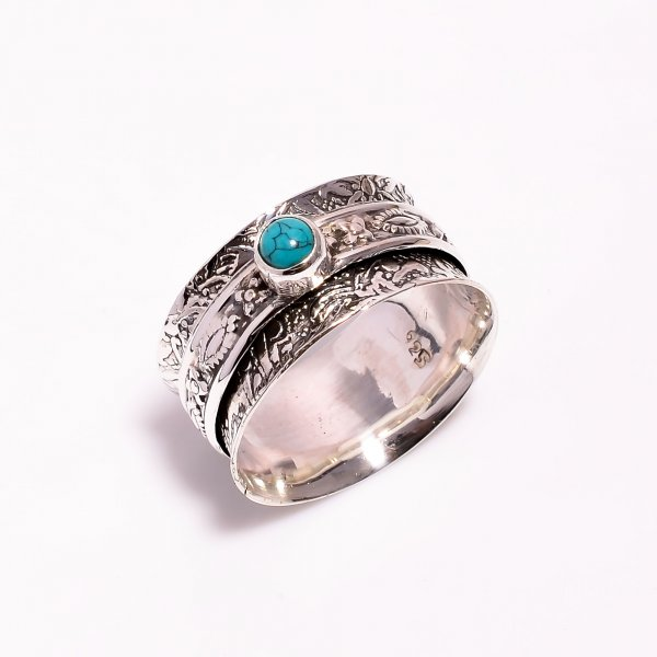 Turquoise Gemstone 925 Sterling Silver Meditation Spinner Ring Size US 10.25