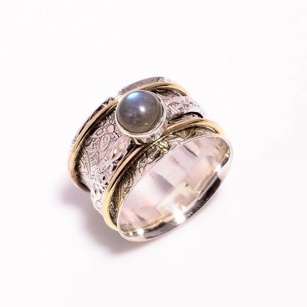 Labradorite Gemstone 925 Sterling Silver Meditation Spinner Ring Size US 9