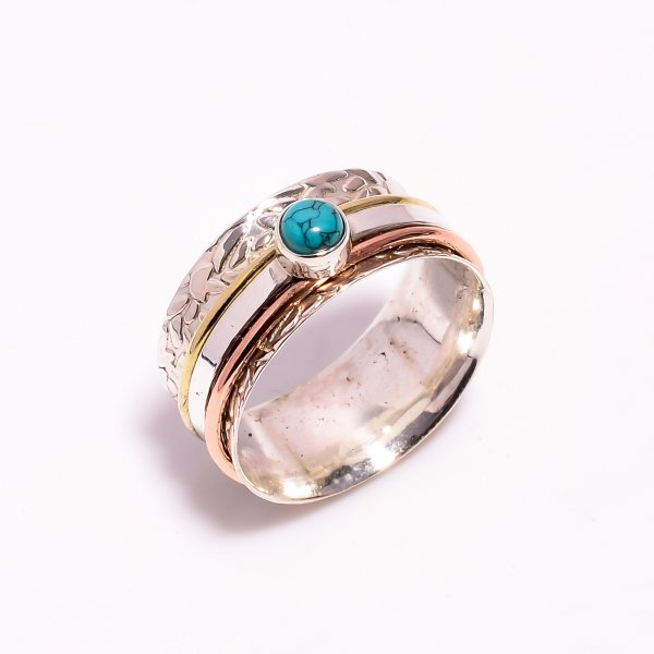 Turquoise Gemstone 925 Sterling Silver Meditation Spinner Ring