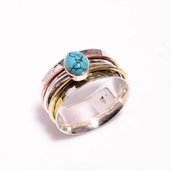 Turquoise Gemstone 925 Sterling Silver Meditation Spinner Ring Size US 10.75
