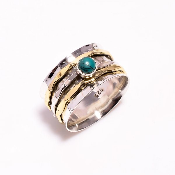 Turquoise Gemstone 925 Sterling Silver Meditation Spinner Ring Size US 7.5