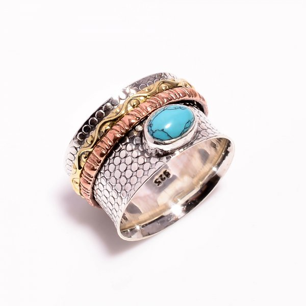 Turquoise Gemstone 925 Sterling Silver Meditation Spinner Ring Size US 10.5