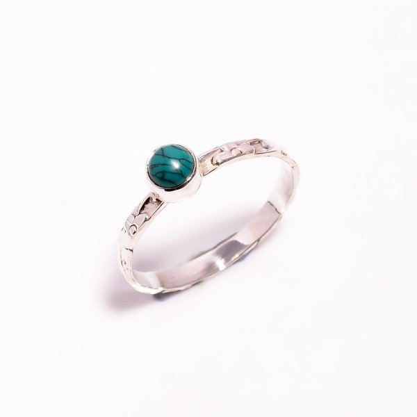 Turquoise Gemstone 925 Sterling Silver Ring Size US 11.5