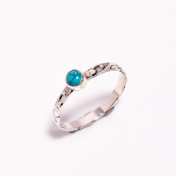 Turquoise Gemstone 925 Sterling Silver Ring Size US 10.75